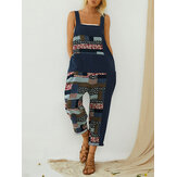 Vintage Print Patchwork Loose Straps Romper Jumpsuits For Women