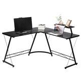 Table de bureau de jeu d'ordinateur de bureau d'angle en forme de L Table robuste moderne avec étagère amovible pour bureau maison chambre à coucher