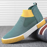 Men Comfy Breathable Canvas Elastic Slip On High Top Casual Sneakers