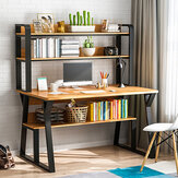 1/2 Tiers Computer Desk Bookshelf Modern Writing Study Desk with Storage Shelf Space Saving Desktop Organizer Workstation for Home Office