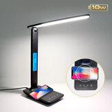 Bakeey 10W QI Carregamento sem fio LED Lâmpada de mesa com alarme de temperatura do calendário Relógio Luz de leitura de proteção para os olhos Almofada de carga para iPhone 12 12Pro Max