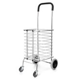 Portable Folding Shopping Basket Cart Trolley Trailer Four Wheel Aluminum Alloy