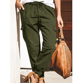 Women Solid Color Cotton Pockets Overalls Trouser Pants