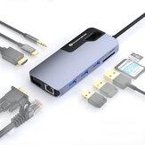 Biaze KZ11 10-in-1 Type-C Dockingstation USB-C naar HDMI-compatibele 4K VGA-converter USB3.0 Hub TF / SD-kaartlezer PD Snel opladen Gigabit netwerkadapter voor Macbook Huawei P30 Mobiele telefoon