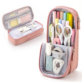 Angoo Normcore Pen Bag Two Layer Foldable Stand Pencil Case Fabric Phone Holder Storage Pouch for Stationery Office School