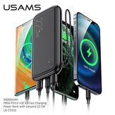 USAMS 22.5W PD3.0+QC3.0 10000mAh Power Bank Support QC/FCP/AFC/Apple 2.4A Fast Charging Charger External Power Supply for iPhone 12 Pro Max for Samsung Galaxy Note S20 ultra Huawei Mate 40 OnePlus 8 Pro