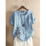 Women Casual Floral Print Cotton Short Sleeve Vintage Loose T-shirts