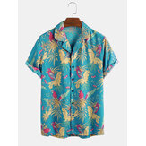 Tropical Floral Forest Parrot Print Kurzarm Revere Shirts