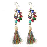 Ethnic Colorful Peacock Crystal Tassel Earrings for Women