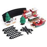 22 قطعة مسار قطار كهربائي للكريسماس لتقوم بها بنفسك تجميع مسار الكريسماس نموذج لعبة مع أضواء وأصوات هدية عيد ميلاد للأطفال