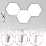 3PCS DIY witte zeshoekige lamp Quantum modulaire aanraakgevoelige wand LED-nachtlampje