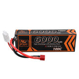 ZOP Power 7.4V 6000mAh 100C 2S Lipo Батарея T Deans Plug для RC Авто