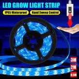 Ręczny czujnik skanowania USB Taśma świetlna do uprawy Wodoodporny Światło do uprawy Lodowoniebieskie Spectrum 0,5 m 2 m 3M Lampa fito LED do roślin Kwiaty Szklarnia Hydroponika NIE Wodoodporny / IP65 Wodoodporny