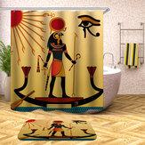 Wasserdichte ägyptische Art-Duschvorhänge mit 12pcs Haken-Badezimmer-Toiletten-Teppich-Matten-Satz