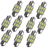 31mm 5630 6-SMD Festoen LED-interieurkaart Dome Lampenlamp DE3175 3022 3021 2W Wit 10PCS