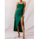 Women Solid Color Sleeveless Straps V-neck Side Zipper Split Maxi Dress