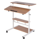 Computer Laptop desk Height Adjustable Table Mobile Rolling Stand-Up Table Workstation Home Office Furniture
