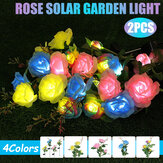 1PC/2PCS LED Solar Lawn Light Simulation Flower Lamp Discoloration Ball-flower Outdoor Yard Lighting