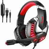J30 Wired Headset 3.5mm USB LED Light Noise-cancelling Game Headphone HD Mic Over-ear Headphones