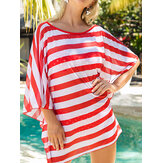 Women Loose Striped Half Sleeve Sun Protection Perspective Beach Cover-Ups