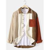 Camicie da uomo a maniche lunghe con risvolto patchwork color block in velluto a coste