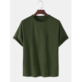 Breathable Solid Color Round Neck Short Sleeve Cotton T-Shirts