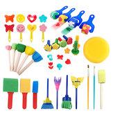 Xunliduocai HM-030-2 30 piezas de pintura Cepillo juego Colorful esponja de pintura Cepillo sello Pluma juego para niños Escuela suministros