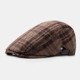 Uomo Feltro Stile Britannico Retro Pittore Lattice Stripe Modello Moda Casual Mantieni Caldo Cappello Berretto Cappello