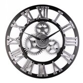 Loskii 45cm Round Gear Wall Clock Roman Numerals Open Face Modern Creative Wall Clock