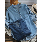 Women Casual Buttons Adjustable Sleeve Denim Blouse