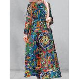 Женщины Винтаж Эластичные манжеты с принтом Халат Макси-платья с длинным рукавом и Ремень