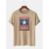 100% Cotton USA Independence Day Print Encouraging Leisure Short Sleeve T-Shirts