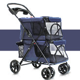 Pet Stroller 4-kołowy składany Cat Dog Oddychający Carrier Travel Camping Portable Pet Cart