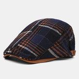 Collrown Erkekler Retro Casual Outdoor Ekose Şerit Desen Patchwork Bere Şapka Forvet Şapka