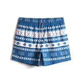 Мужские быстросохнущие шорты Винтаж с геометрическим принтом на талии Пляжный