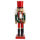 Natale Schiaccianoci Soldato Bambola Burattino di legno Ornamenti desktop vintage 25 cm Decorazione del festival