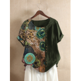 Vintage Print Patchwork Button Front Round Neck Short Sleeve T-Shirts For Women