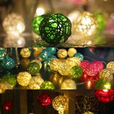 Batterie Powered 1.8M 10LEDs Rattan Ball Fee Lichterketten für Weihnachten Garten Party