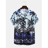 Hombre casual gradiente tropical Coco estampado cuello solapa manga corta camisas hawaii