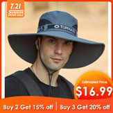 Collrown Mens Bucket Hat Outdoor Fishing Hat Escalade Mesh Respirant Sunshade Cap Oversized Brim With String