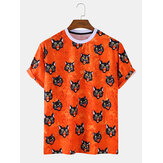 Mens Halloween Style Cat Cartoon Round Neck Short Sleeve Casual T-Shirts