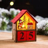 Calendário do advento de Natal LED Light Up Wood House Papai Noel Boneco de neve Decoração para casa