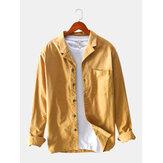 Banggood Diseño Camisas de bolsillo de pecho sólido de pana delgada para hombres