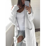 Women Knitting Solid Color Open Front Pocket Faux Woolen Cardigans