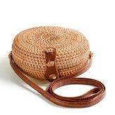 Women Round Straw Beach Bag Vintage Travel Crossbody Bag