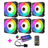 Coolmoon 6PCS 120mm RGB PC Fans Monochromatic Light Adjustable CPU Cooling Fan With the Remote Control