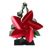 Loskii Christmas Style 5-Blatt-Holzofen Lüfter Kamin Log Holzbrenner Eco Fan