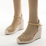 Women Casual Breathable Lace Closed Toe Buckle Comfy Espadrille Wedges
