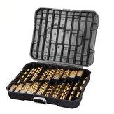Drillpro 230pcs Titanium Coated Twisted Drill Bit Set HSS Drill Bit Set with Black Plastic Box Titanium Alloy Drill Bit Set