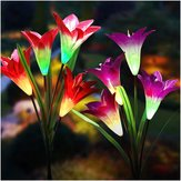 2pcs 4LED Solar Power Lily Flower Stake Light Multicolor Changing Waterproof Outdoor Garden Lamps